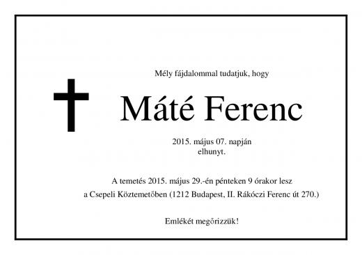 Máté Ferenc gyászjelentés